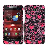 Cell Armor Motorola Droid Razr M 4G Let Deluxe Snap On Case - Retail Packaging - Pink Hearts On Black