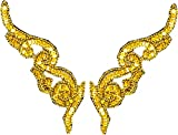 【ゴールド】スパンコールワッペン 新体操・バトン・ダンスなどの衣装を手作りで【sk1290-1】