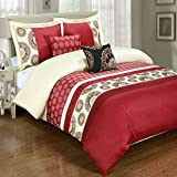 5PC Chelsea King/Cal-King Embroidered Duvet Cover Set, Red, by Royal Hotel