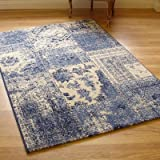 Woodstock 32487-6257 Blue Heather & Cream Panel Design Rug