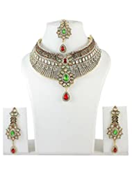 Indian Bollywood Necklace Red-Green Stone Partywear Wedding Jewelry Set