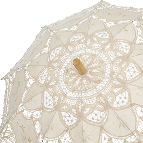 Remedios Ivory Bridal Wedding Cotton Lace Parasol Umbrella for Party Decoration 3