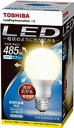 TOSHIBA E-CORE(イー・コア) LED電球 (光が広がるタイプ・密閉器具対応・フィンレス構造・E26口金・一般電球形・白熱電球40W相当・全光束485lm・電球色) LDA8L-G