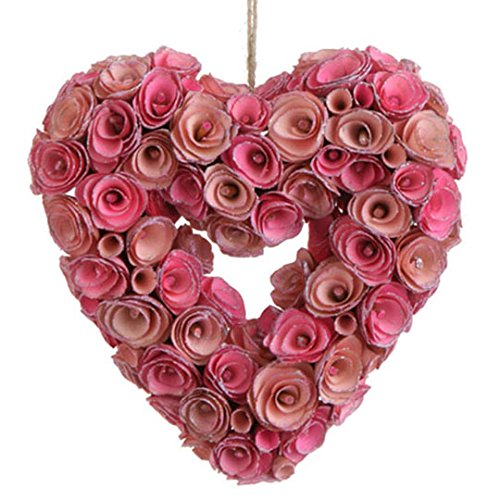 RAZ Imports – Valentine Day – 10″ Pink Rose Heart Wreath Ornament