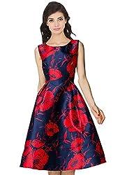 Rozdeal Designer Blue & Red Colour Semi Stitched Taffeta Silk Western Wear