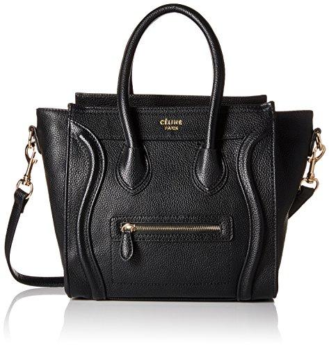 celine-womens-leather-micro-luggage-tote-bag-black