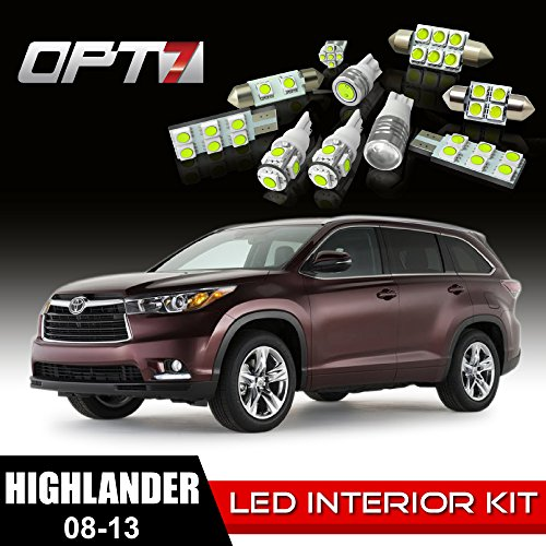 Opt7 16Pc Interior Led Replacement Light Bulbs Package Set For 08-13 Toyota Highlander White