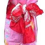 浴衣七五三 女児男児子供正絹兵児帯(柄は不定) 6色 /赤