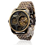 Oulm Sports Outdoor Military Men Bronz Three Dials Waterproof Watches