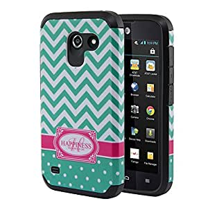 Nextkin Huawei Tribute 4G LTE Y536A1 Fusion 3 Hybrid Dual Layer Armor Hard Silicone Skin Protector Cover Case - Teal Mint White Happiness Monogram/ Black