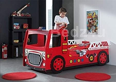 Single Fire Engine Novelty Kid's Bed with L.E.D Lights and Monarch Rome Damask Mattress