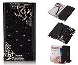 ZeWoo PU Leder Brieftasche - XT002 / (5#) Schwarze Rose