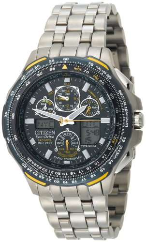 Citizen Men&#8217;s JY0050-55L Eco-Drive Blue Angels Skyhawk A-T Chronograph Titanium Watch
