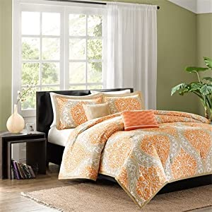 Intelligent Design Senna 5 Piece Comforter Set, King/California King, Orange