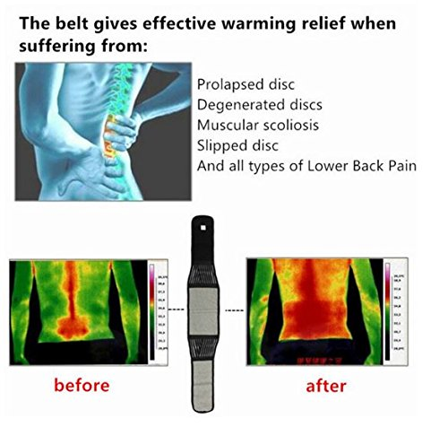 Size XL,Tourmaline Magnetic Therapy Lower Back Waist Support Belt Self Heating Backache Pain Relief by SiamsShop (Backache Belt compare prices)