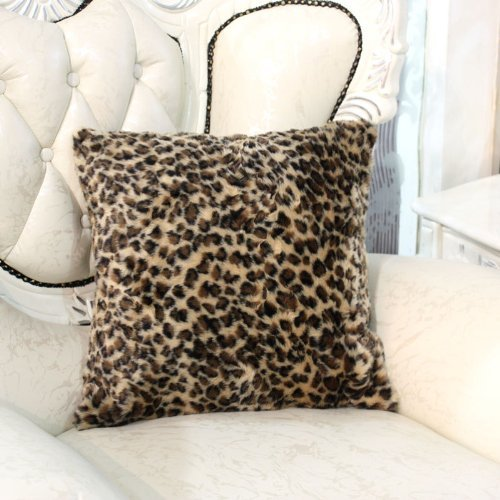 Diaidi Luxurious Imitation Fur Leopard Hold Pillow Cover Sofa Back Cushion Cover Luxury Square Bed Cushion Pillowcase