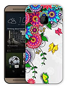 """Humor Gang Flowers And Circles Art Printed Designer Mobile Back Cover For """"HTC ONE M9"""" (3D, Matte, Premium Quality Snap On Case)"""