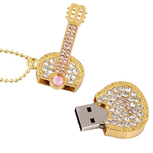 A-one 8GB/16GB/32GB Shiny Crystal Diamond Guitar USB Flash Drive with Necklace