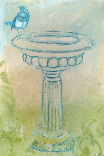 Oopsy daisy Birdbath Stretched Canvas Art by Aaron Christensen,16 by 24-Inches