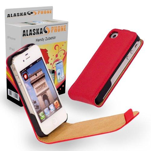 Alaskaprint Flip Cover Rot für iPhone 4G 4S, Kunstleder Cover, Flip cover Rückschale