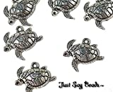 HUGE CHARMS SALE 6 x Antique Silver Plated TURTLE charms Jump Ring Attachments Included SEA LIFE QUALITY CHARMS Ref 10B40
