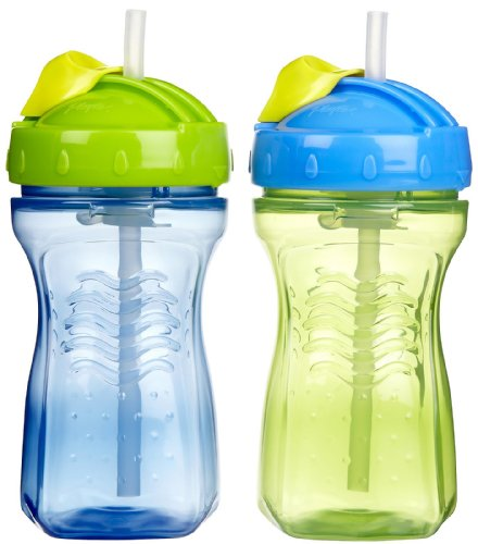 Playtex Baby Lil' Gripper Twist 'n Click 9 Ounce Straw Cup, 2 Count,Colors May Vary
