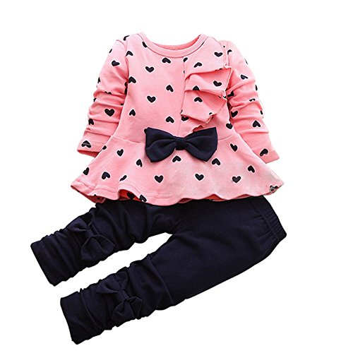 LaLaMa Baby Girl Cute 2 Piece Outfit Children Clothes Bowknot Top and Pants Set