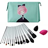 CLOTHOBEAUTY 15 Pcs Premium Synthetic Kabuki Makeup Brush Set Kit,foundation Powder Blush Brushes Set,With Brush...