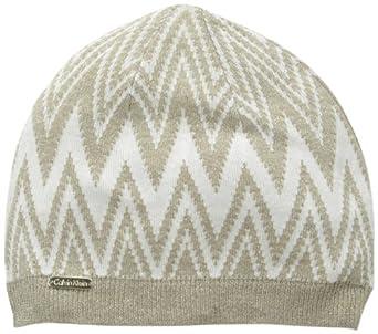 Calvin Klein Women's Zigzag Lurex Beanie Hat, Almond, One Size