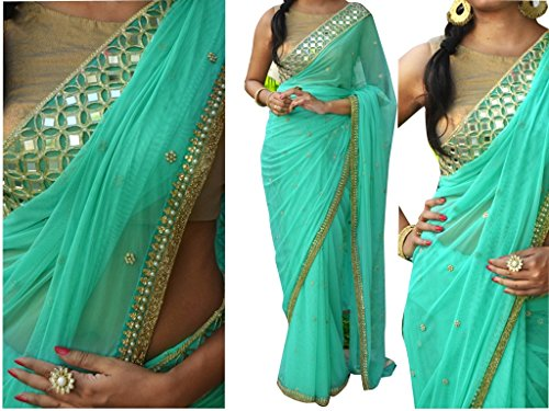 Vinayak Textile Women's Pure Nylone Georgette Bollywood Party Wear Saree