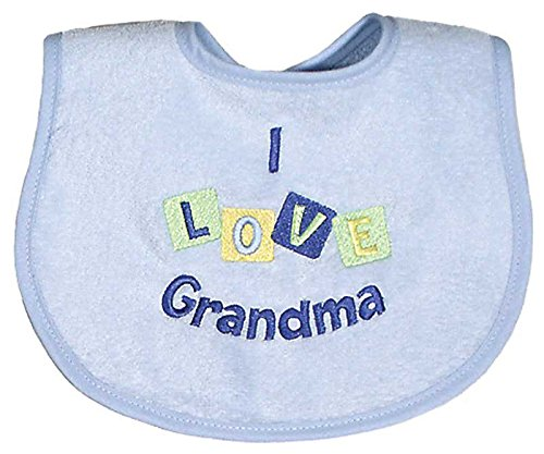 Raindrops I Love Grandma Embroidered Bib, Blue