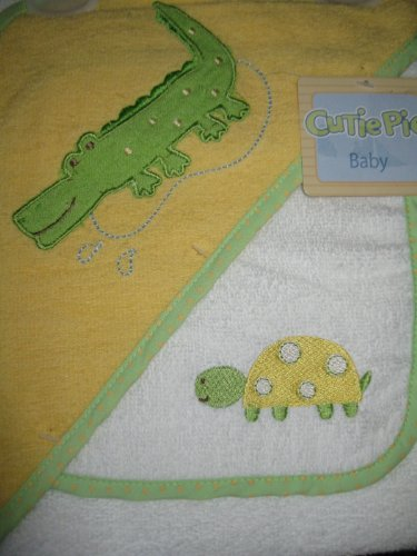 Hooded Baby Towel and Wash Cloth Yellow & White with Crocodile & Turtle Design