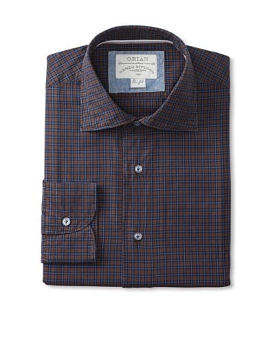 Orian Men's Checked Dress Shirt  [Brown]