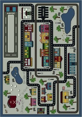 "Joy Carpets Kid Essentials Active Play & Juvenile Tiny Town Rug, Pewter, 10'9"" x 13'2"""
