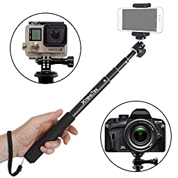 Selfie Stick for GoPro, iPhone and Android Smartphone, Digital Camera and DSLR - A Professional HD Quality Waterproof Self-Portrait Monopod Go Pro Pole - Easy to Use With All Mounts - NO Remote
