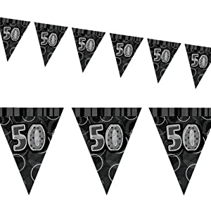 12ft Black Sparkle Happy 50th Birthday Pennant Flag Banner Party Decoration . by Unique