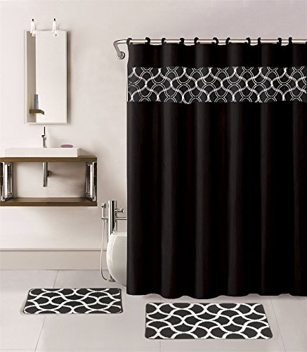 black and white shower curtain set. Gorgeous Home 15PC BLACK GEOMETRIC DESIGN BATHROOM BATH MATS SET RUG CARPET SHOWER  CURTAIN HOOKS NON Best Bathroom Shower Curtain Sets It s Bath Time