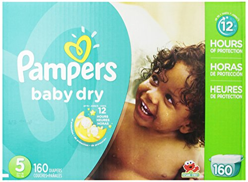 Pampers Baby Dry Diapers Economy Pack Plus, Size 5, 160 Count (One Month Supply)