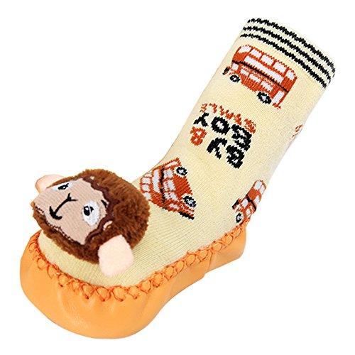 Tang Imp Cartoon Baby Cotone Antiscivolo Calze da passeggio scarpe bambini calzini per interni a mocassino Yellow Monkey M(sole length 13cm)