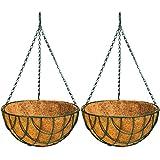 """Garden King 14"""" Traditional Hanging Basket Green Set Of 2"""