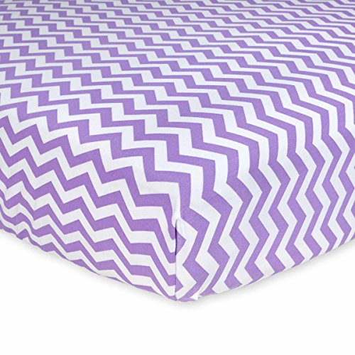 Carter's Cotton Fitted Crib Sheet, Lilac Dream Chevron - 1