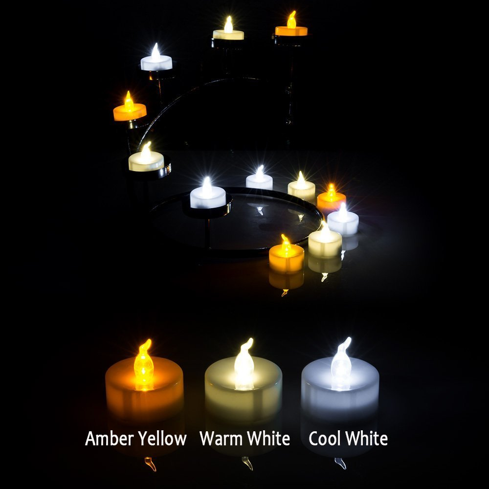 AGPtek 100 Battery Operated LED Amber Flameless Flickering Flashing Tea Light Candle