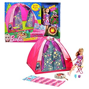 Mattel Year 2010 Barbie Camping Series 9 Inch Doll Playset - Sisters Camp Out with Stacie Doll, Folded Stool, Campfire with Smores, Sleeping Bag and Tent