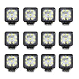 Masione 5INCH 27W 9-LED-3W Flood Offroads Yacht Boat Waterproof Work Light Lamp 12V 24V (12 Pack, 27W Square, Flood Beam)