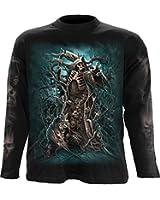 Spiral T-shirt à manches longues pour homme Motif Forest Reaper Noir