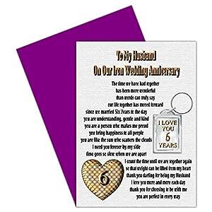 6th Wedding Anniversary Gift Ideas For Husband : Husband 6th Wedding Anniversary Card With Removable Keyring Gift - 6 ...