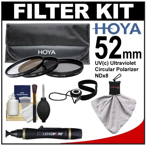 Hoya 52mm 3-Piece Digital Filter Set (HMC UV Ultraviolet, Circular Polarizer & ND8 Neutral Density) with Case + Cleaning Kit for Canon, Nikon, Sony, Olympus & Pentax Lenses
