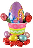 Disney Princess Toy & Candy Filled Plastic Egg Easter Basket in Pastel Bucket