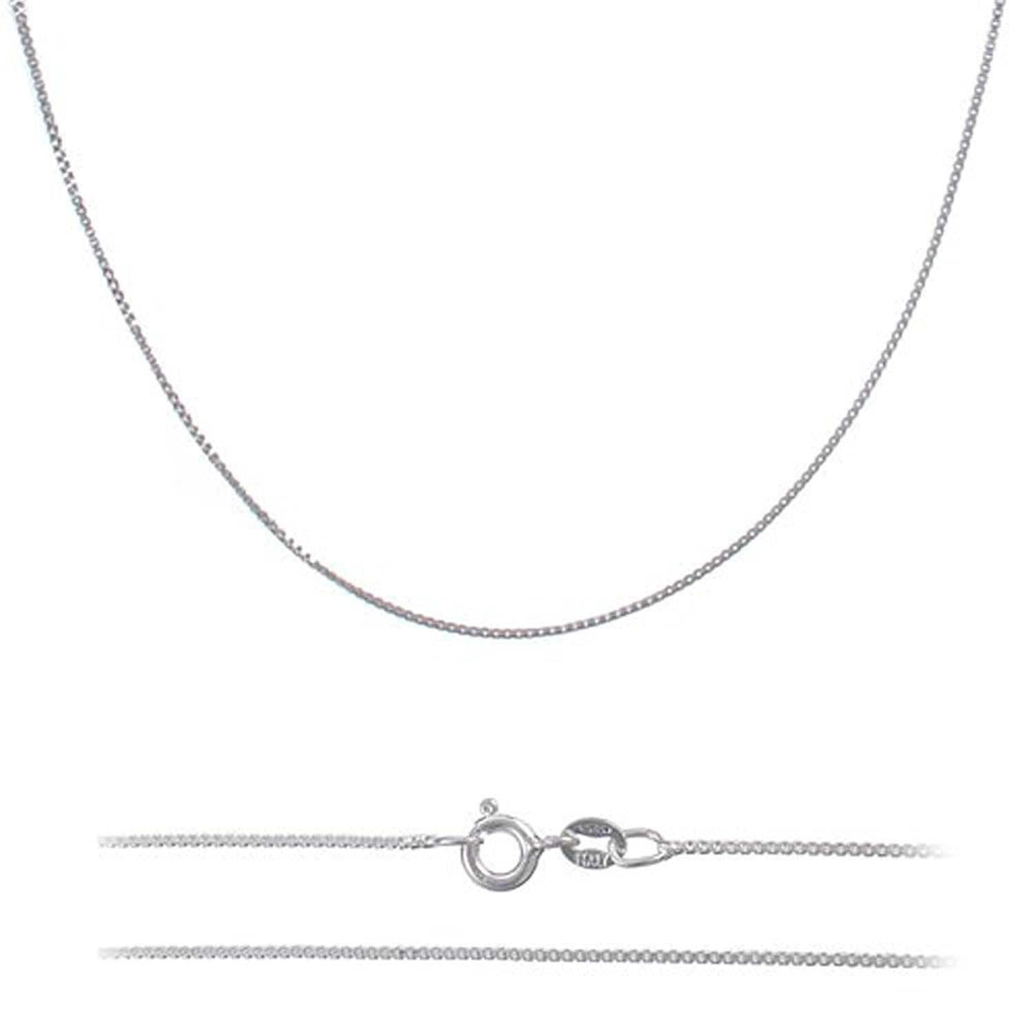 ".7mm (14-30"") Nickel Free Italian .925 Sterling Silver Box Chain Necklace"
