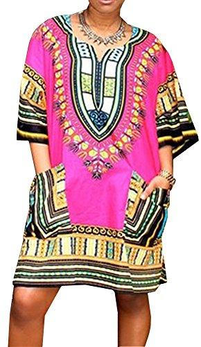 Bohemian Vintage Oversize Print Dress Free Size for Women Free Size SiYuan